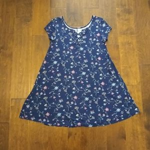 SO size small blue floral swing dress short sleeve